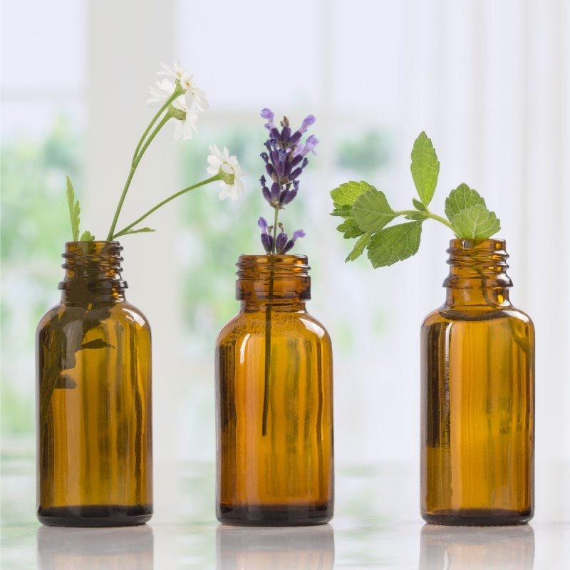 botttles with herbs