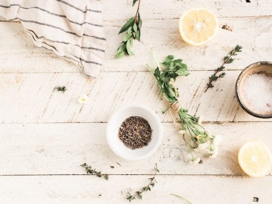 salt lemon herbs for pampering