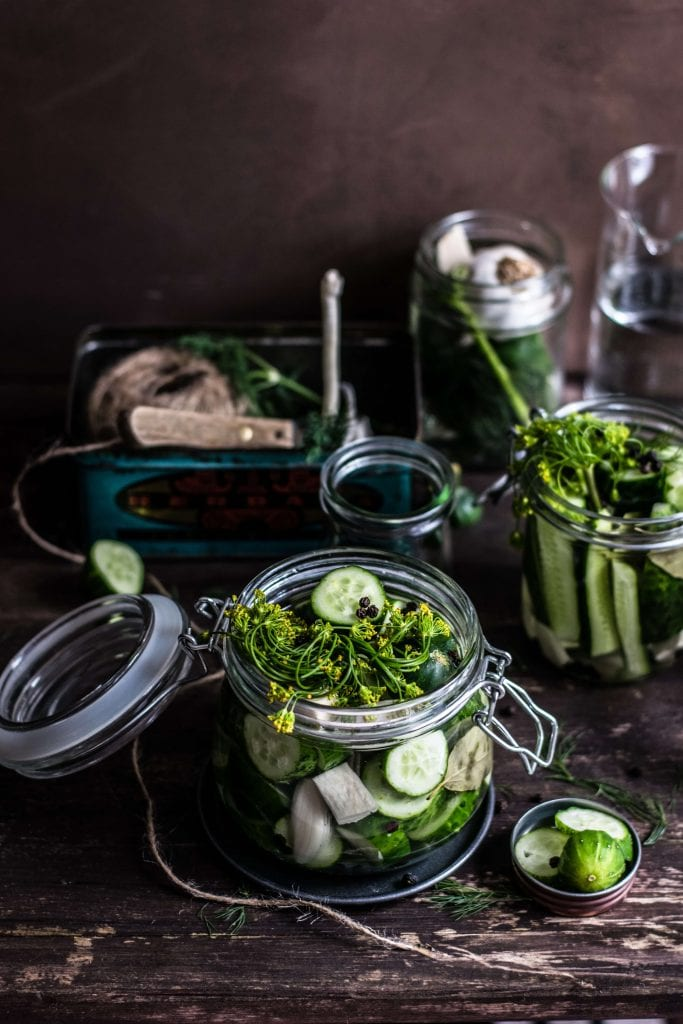 lactose-fermented cucumbers in jars