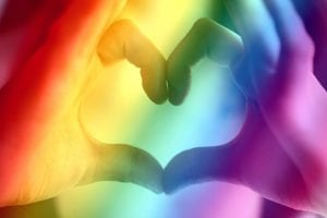 chakra balancing image with rainbow colors and heart gesture