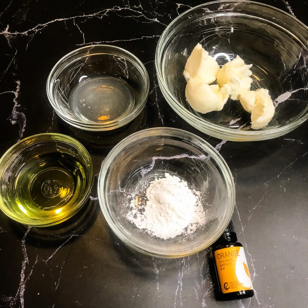 ingredients for shea butter and coconut oil body butter