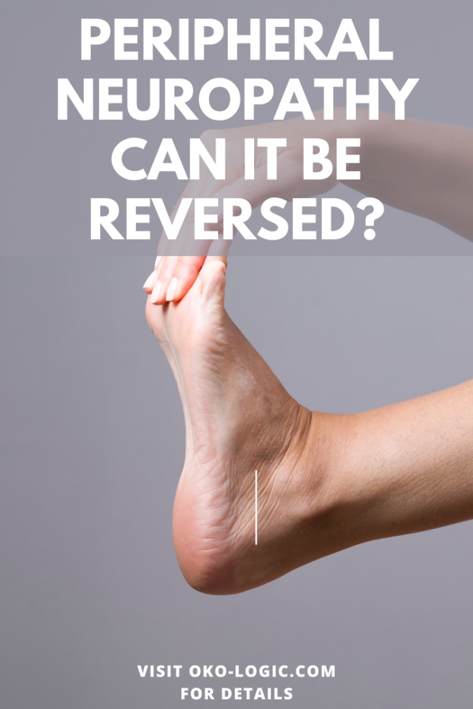 can neuropathy be reversed pin showing a woman holding her foot
