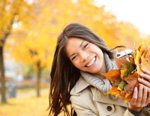 woman with fall foliage
