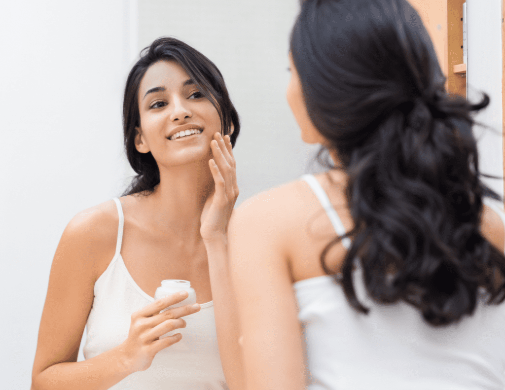 woman updating fall skin care